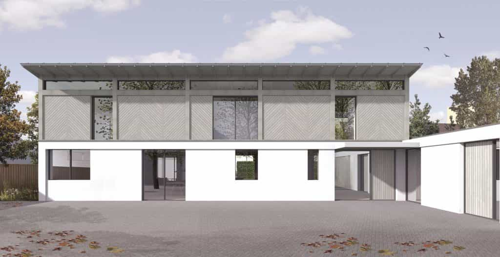 Computer generated image of passivhaus or passive house luxury new build with doulas fir timber cladding