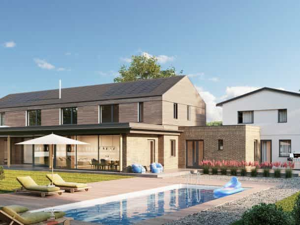 Computer generated image of large luxury new build and restoration residence clad in stone with swimming pool