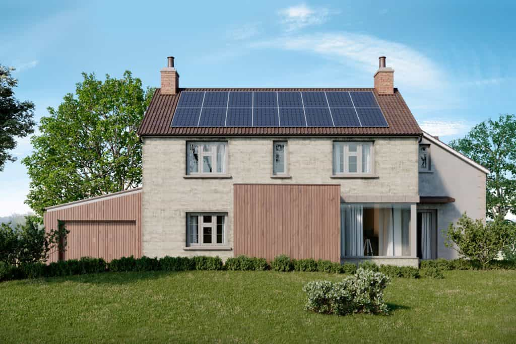 computer generated image of timber cladding on home restoration set in garden