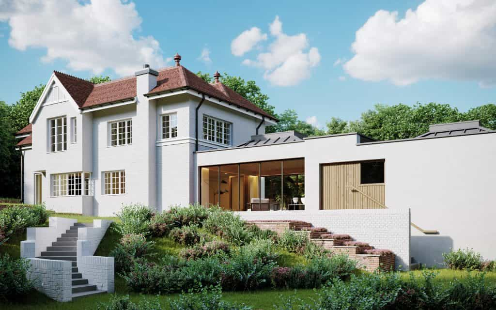computer generated image external view of existing home with new garden room and zinc roof