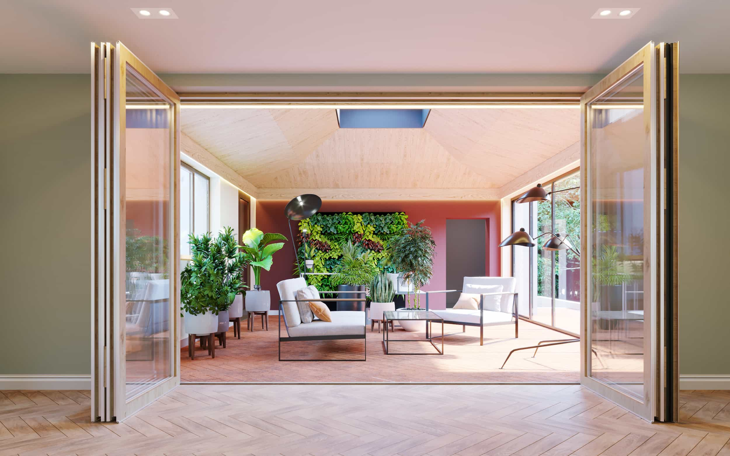 Computer generated image view of garden room with pink wall and living green wall of ferns and succulents through large glass double doors