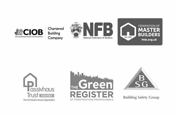 Logos of chartered building company national federation of builders federation of master builders passivhaus trust the green register and build safety group