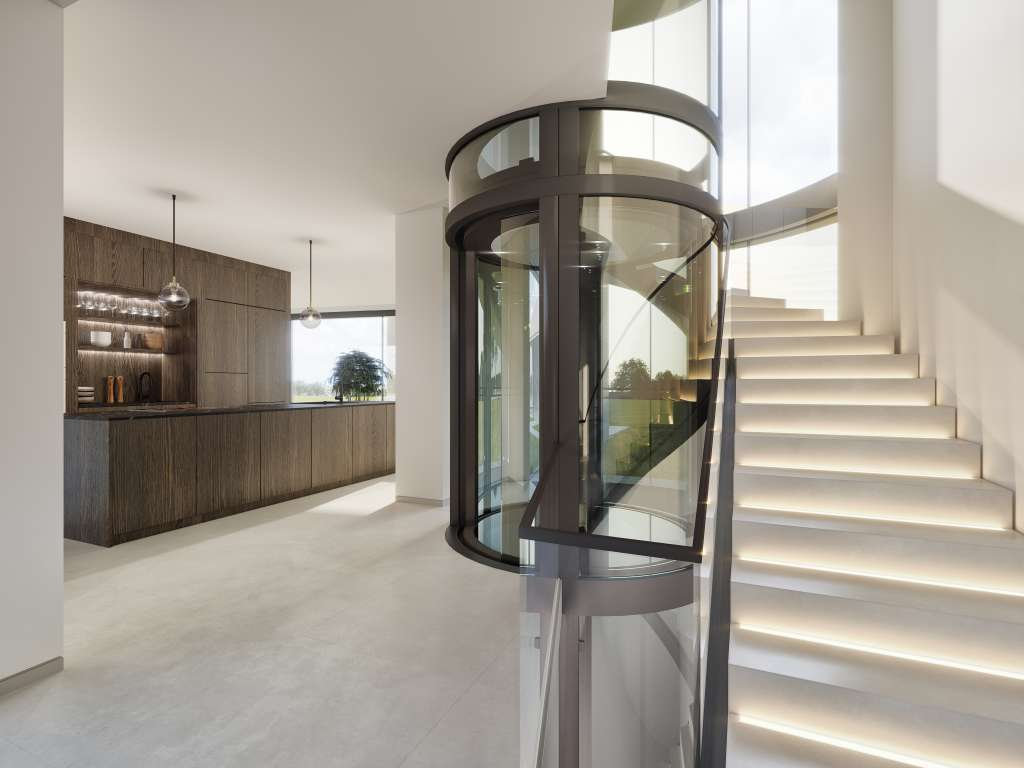 Computer generated image of glass cylindrical lift with shadow gap stairs in residential property