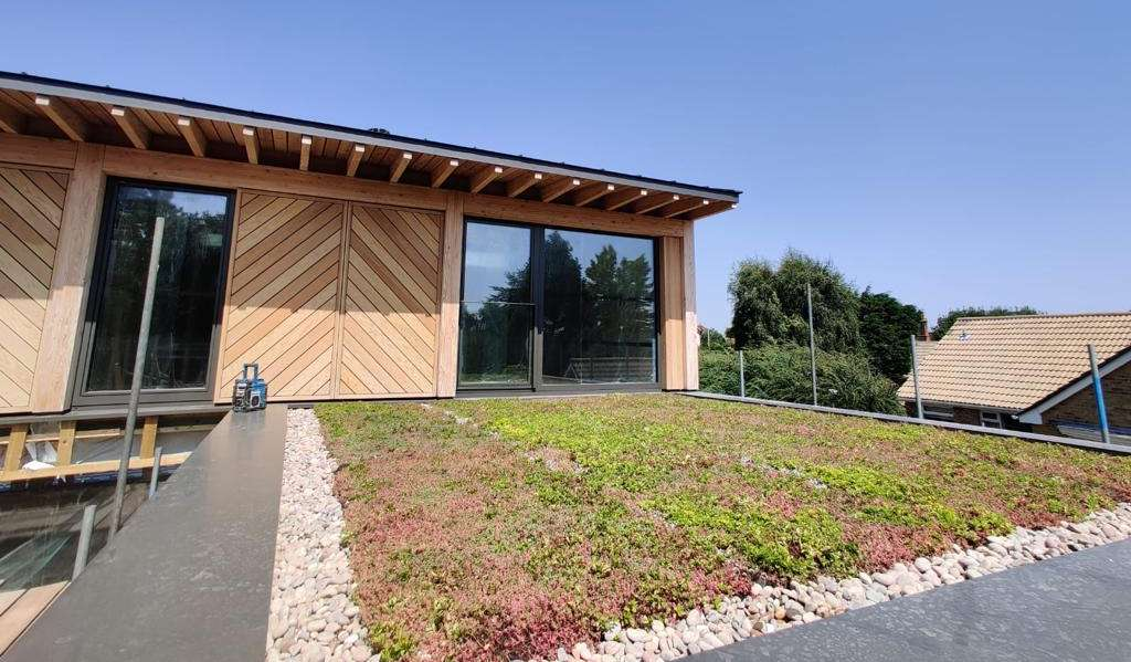 construction of Passive House with timber cladding and growing green roof