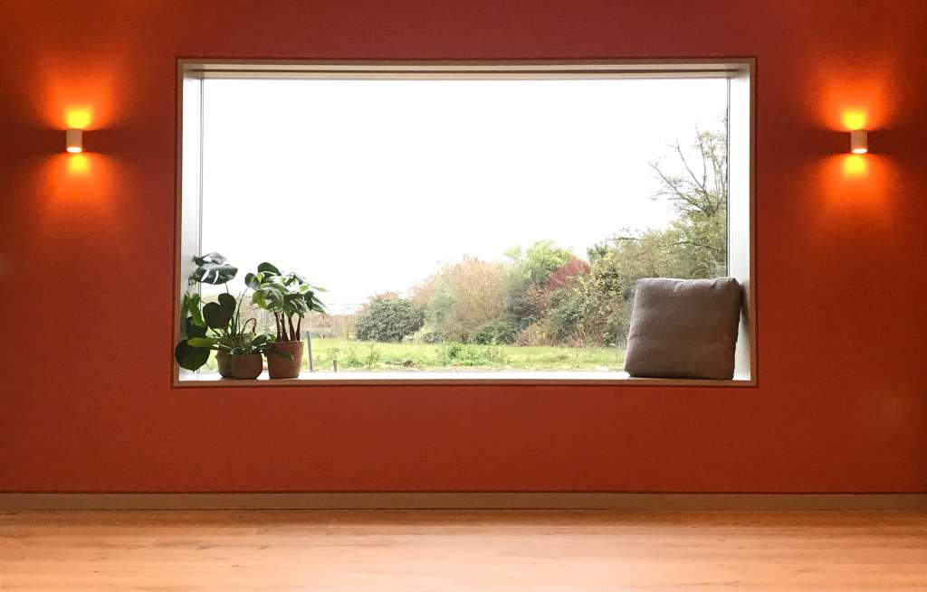 Box window overlooking meadow with house plants and red paint decor