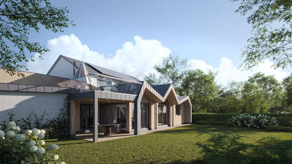 Passive House with zinc and timber cladding in garden with glass balcony